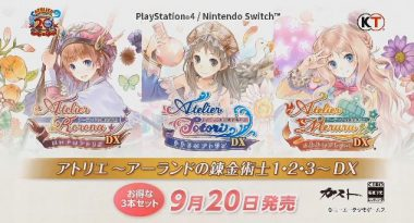 Atelier Rorona DX,Atelier Totori DX, andAtelier Meruru DX Announced for PS4 and Switch