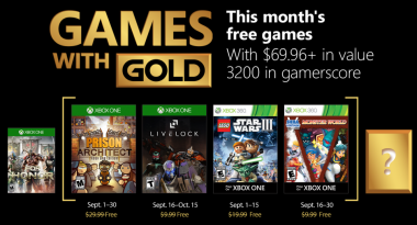 Games With Gold for September 2018 Announced