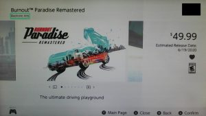 Burnout Paradise Remastered Switch Estimated Release Date Leaked as June 19 on eShop