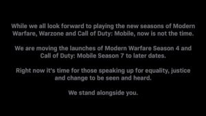 Call of Duty: Modern Warfare, Warzone, and Mobile Seasons Postponed due to George Floyd Death and Aftermath