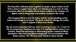 Guerrilla Collective Postponed due to George Floyd Death and Aftermath, Special Showcase Focusing on Black Developers & Characters Announced
