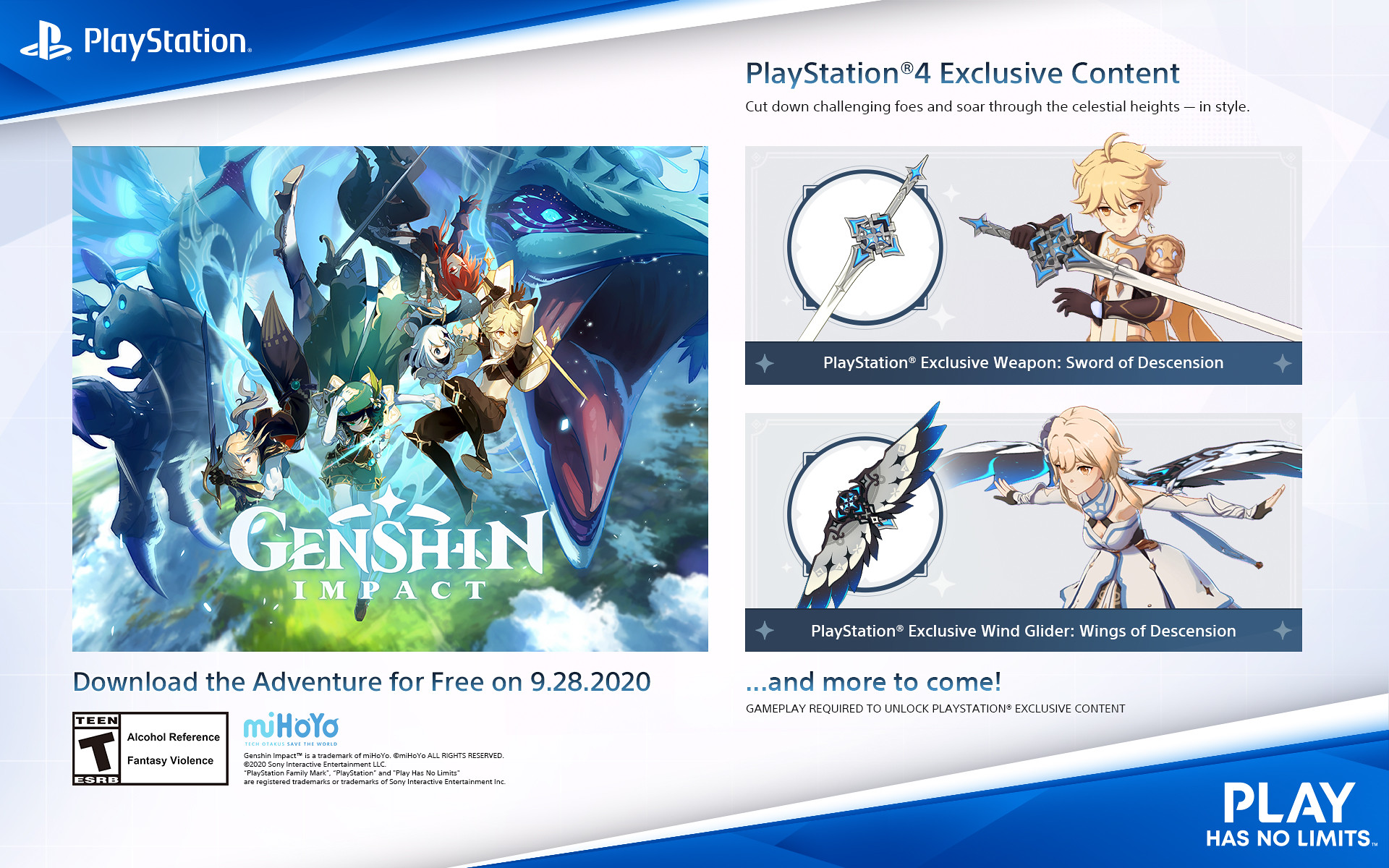 Genshin Impact PlayStation 4 Exclusive Content