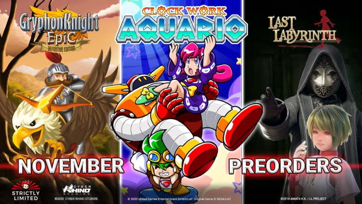 Strictly Limited Games 3rd Anniversary Clockwork Aquario Last Labyrinth Gryphon Knight Epic: Definitive Edition