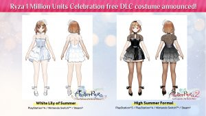 "Atelier Ryza 1 and 2 ""White Lily of Summer"" and ""High Summer Formal"" Free Costume DLC Revealed"