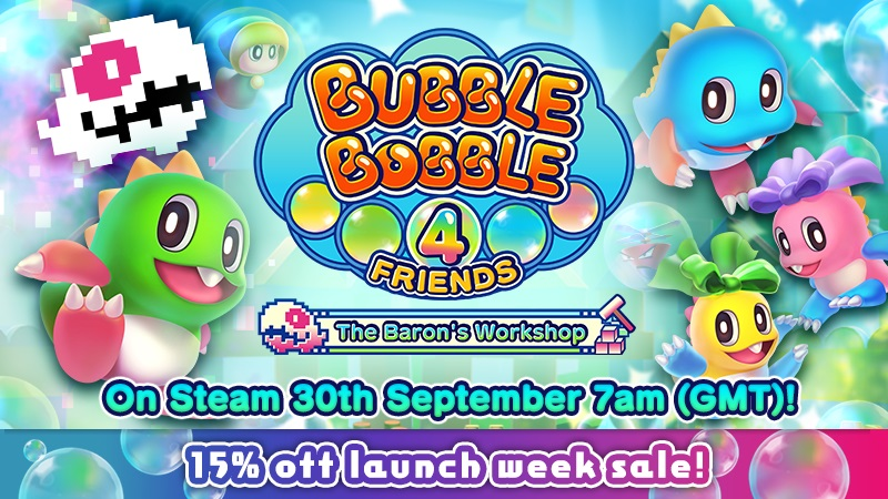 Bubble Bobble 4 Friends: The Baron's WorkshopLaunches September 30